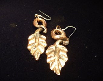 Hand forged copper leaf earrings
