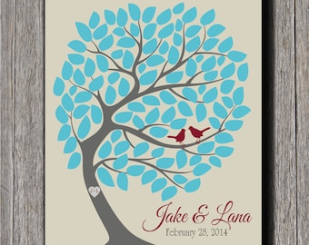 Wedding Guestbook Tree - 105 Signatures - Wedding Guest Tree - 16x20