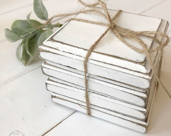 Wooden Coasters (Set of 4) // White Rustic Painted Coasters // Farmhouse Cup holders