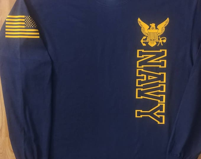 Navy - Long Sleeve Shirt - Mens Navy Shirt - Womens Navy Shirt - Navy Veteran - Navy Wife - Unisex Shirt - Sailor - US Navy Shirt