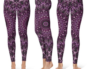 Graphic Print Workout Pants, Hooping Leggings, Performance Wear, Festival Clothing