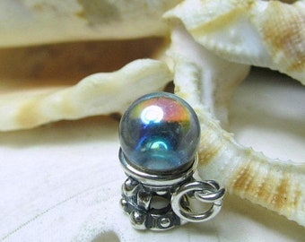 ON SALE Sterling Silver Crystal Ball 3D Charm Fortune Teller Halloween 2.47g