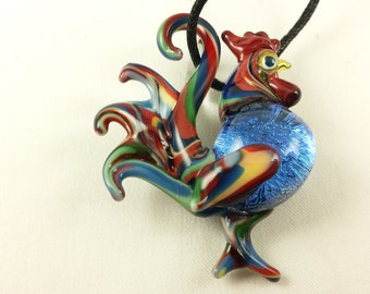 Rooster - Glass Pendant Necklace