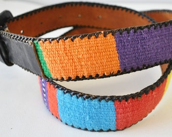 1970s vintage groovy rainbow colored leather-fabric belt