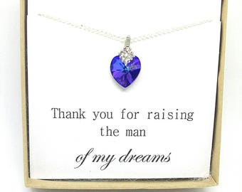Mother of the groom gift- mother of the groom necklace- thank you for raising the man of my dreams- Swarovski heart necklace- wedding
