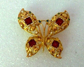 Vintage Gold Red Butterfly Brooch Pin, Nature Brooch Pin, Woodland Brooch, Ornate Butterfly Brooch, Accessories, Fashion Jewelry, Boutique