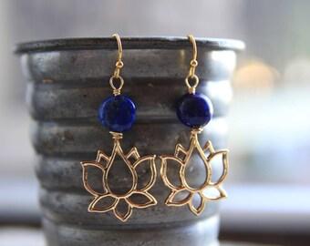 Lapis Lazuli Lotus Earrings