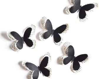 Papillons noirs, décoration d'intérieur, mariage noir et blanc, mariage art déco