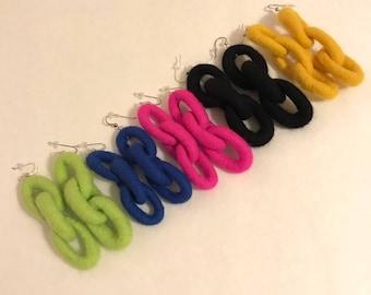 Felted Chain Earrings Triple