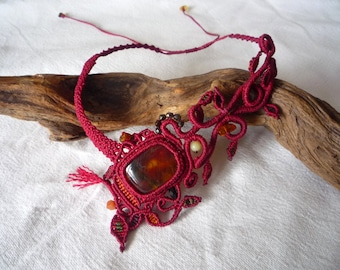 Red elven necklace with amber