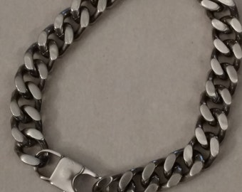 Biker Stainless Steel Chain, Biker Bracelet, Matte Finish, FREE SHIPPING, Cable Style, Large Links, Gentleman's Gift, One Size Only
