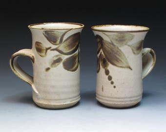 Oldrich Asenbryl Stoneware Mugs, Ex-Aldermaston Potter, Studio Pottery Mugs, Handthrown Pottery