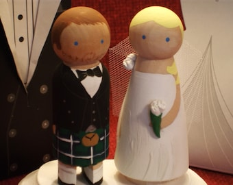Custom Kilt Wedding Cake Topper- Wooden Wedding Cake Topper-Uniquely Customize