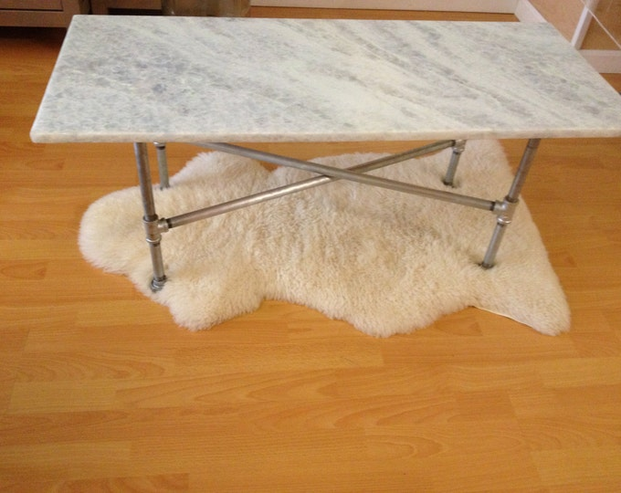Industrial Glam--Onyx Coffee Table--White Coffee Table--Stone Coffee Table