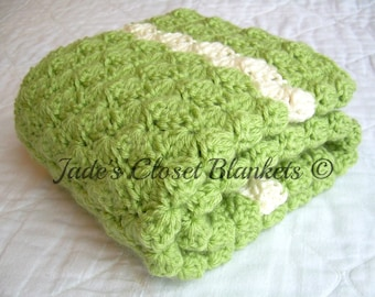 Crochet Baby Blanket, Baby Blanket, Crochet Green Baby Blanket, Sweet Pea Green and Off White, travel size