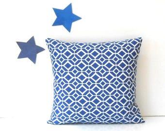 18x18 Blue White Outdoor Pillow Cover in Geometric Print, Marine Blue Summer Deck or Porch Pillow, Sunroom Sham, Beach House Pillow