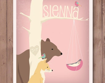 8X10 Personalized children's illustration, woodland animals gazing at a newborn, baby shower gift, nursery art