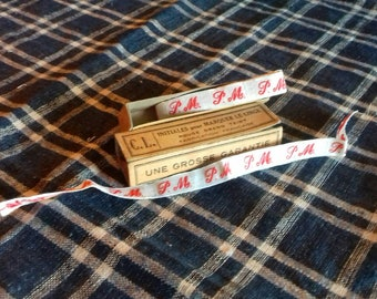 Vintage French Monogrammed Laundry Tape PM