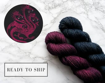 Hand dyed yarn, silk merino wool yarn, game of thrones yarn, knit birthday gift, best selling items - Targaryen
