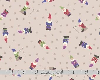 Garden Gnomes Fabric, Lewis & Irene Grandma's Garden A199 3, Garden Gnomes on Natural, Mini Gnomes Quilt Fabric, Cotton Yardage