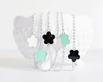 30 inch Scattered Flower Necklace,  long simple necklace