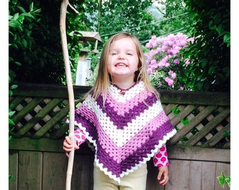 Kids Basic V Poncho Crochet Pattern WM2042