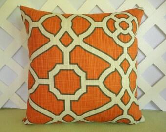 Abstract Pillow Cover/ Geometric Pillow/ Orange Pillow/ Decorative Pillow/ Orange, Ivory, Charcoal Black Pillow/ Accent Pillow/ Home Decor