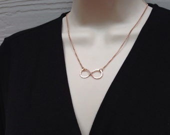 Rose Gold Necklace, Infinity Necklace, 14kt Rose Gold Fill Jewelry, Hammered Infinity Link, Figure 8, Love Symbol Jewelry, Gift Under 50