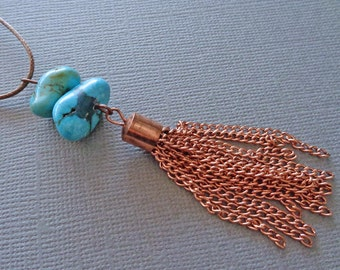 Turquoise Tassel Necklace / Rose Gold Tassel Necklace / December Birthstone / Chunky Genuine Turquoise Nuggets / Tassel Jewelry //GB7