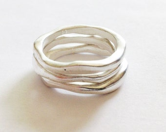 Organic Shaped Ladies Silver Rings // Matt Silver Plated 3 Stack Ring Set // Made in England // Various Sizes