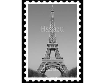 Eiffel Tower Stamp French Paris postal mail art PNG ephemera digital stamp instant download collage journal scrapbook