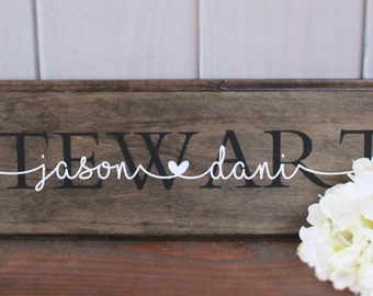 Personalized wedding gift - Personalized family name sign