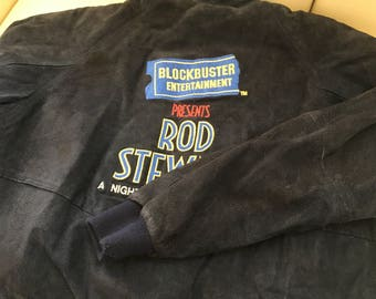Vintage ROD STEWART TOUR Suede Jacket - 1989 A NIght to Remember Tour - Blockebuster Entertainment - Size Medium - Navy Blue Coat