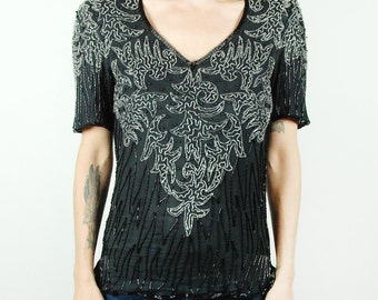 Black and Silver Sequined and Beaded Top