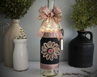 Wine Bottle Light/Battery Operated/Pink and Gold/Chalk Board/Country Chic Decor/French Farmhouse Decor/Wine Lover Gift/Mother's Day Gift