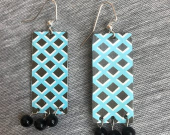 Turquoise and Black Lattice Vintage Tea Tin Dangle Earrings