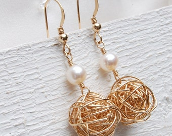14ct Gold Filled Bird's Nest And Pearl Earrings