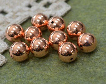8pcs Copper 12mm Metal Beads Solid Shiny Round