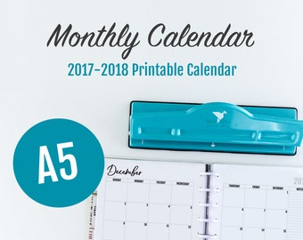A5 Monthly Calendar, A5 Calendar 2018, A5 Bujo, A5 Bullet Journal, A5 Calendar, Monthly Planner Pages, A5 Monthly Calendar 2018, A5