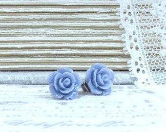Blue Floral Earrings Blue Rose Stud Earrings Blue Flower Earrings Surgical Steel Studs