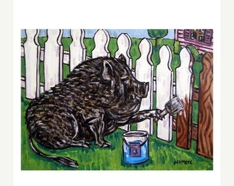 Pot Bellied Pig painting a Fence Art Print