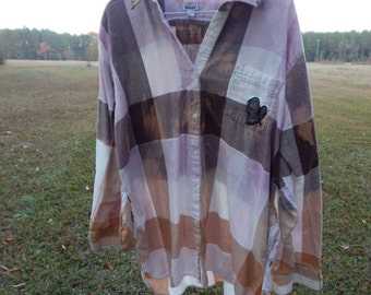Distressed plaid flannel shirt - long soft - bleached dipped splattered recycled - Size L (women's) (S42)