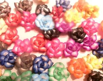 50 Fimo Polymer Clay Fimo Beads Flower Rose 25mm -Assorted Colors Piink, Fuschia, Orange, Blue, Purple, Black, Brown Light Blue
