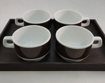 Tea/Coffee Set on Tray, Tea/Coffee Mugs, Chocolate Cups, White & Brown Mod Mugs, Faux Leather Tray - Personalized - Foil Transfer