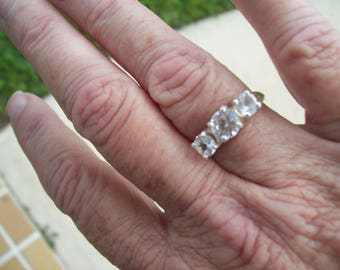Three Stone Past Present Future or Anniversary Ring Custom Made to Order - Sterling Silver - white sapphire