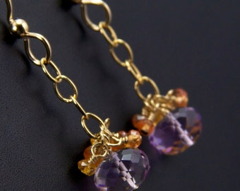 Anna - Lavender Amethyst Sapphires and Gold Filled Earrings
