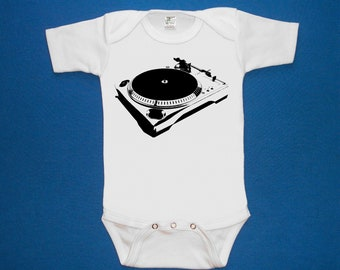 Turntable dj baby one piece bodysuit shirt creeper screenprint Choose Size