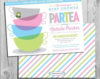 Tea baby shower invitation printable high tea shower invite tea baby shower high tea custom baby shower invitation printable diy invite girl filmwisefo Choice Image