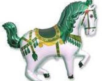 "Circus Horse Balloon, Merry Go Round Horse Balloon,  Party Decoration, Birthday Party, Animal Theme Party, Horse Show, Green, 35"""