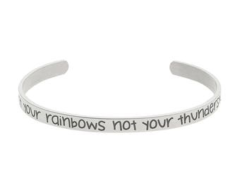 """High Polished Stainless Steel """"Count Your Rainbows Not Your Thunderstorms"""" Inspirational Cuff Bracelet"""